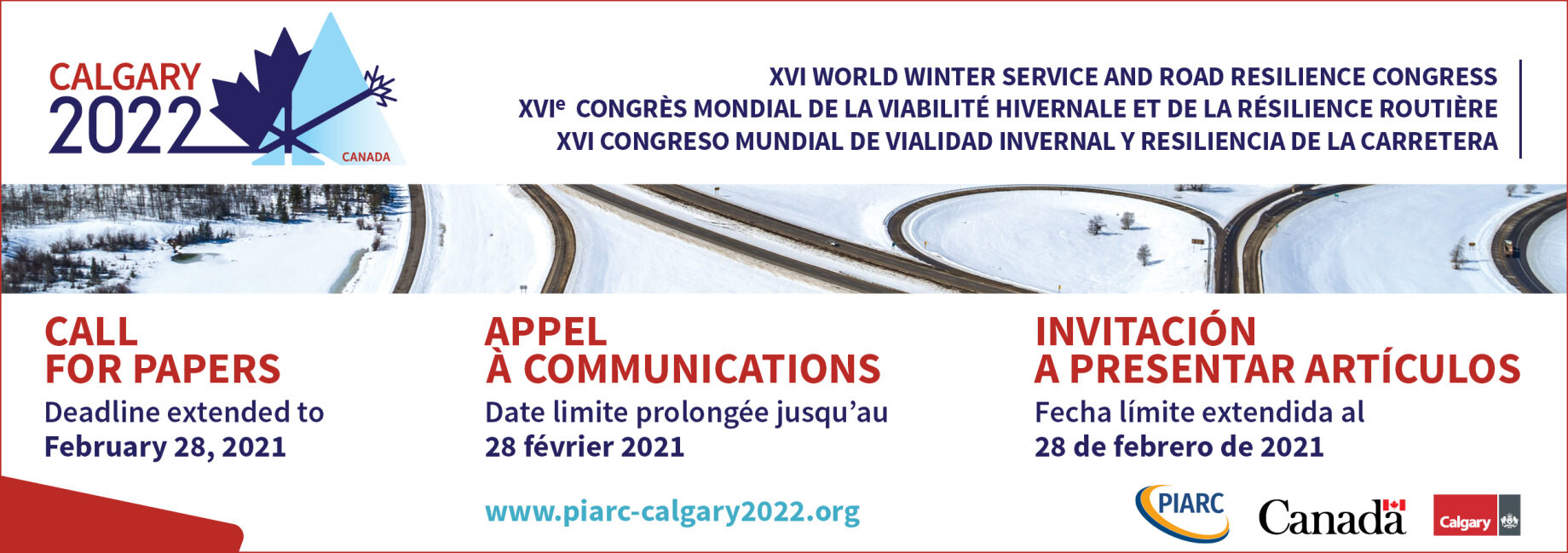 Last call! Don't miss this coming Sunday's deadline to submit your Winter Service or resilience abstract to PIARC in English, French or Spanish!